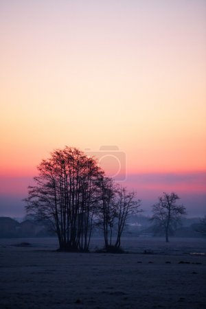 Colourful countryside landscape at sunset