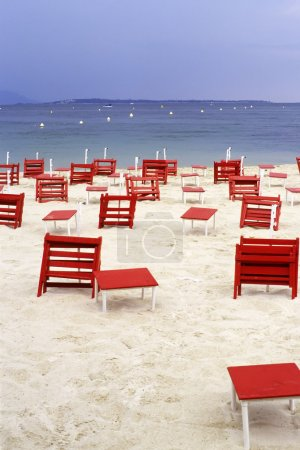 Deckchairs on the beach from Juan les Pins