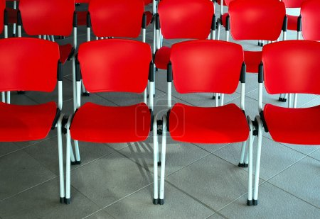 Conference room with red seats
