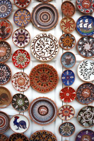 Colourful plates in Pottery shop