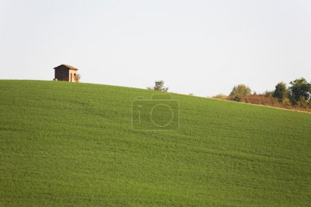 Rural construction at the top of a green hill