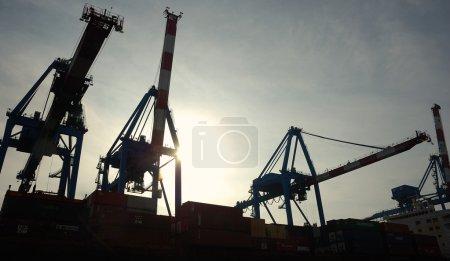 Cranes loading ship