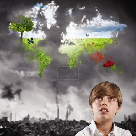 Child imagines a clean world