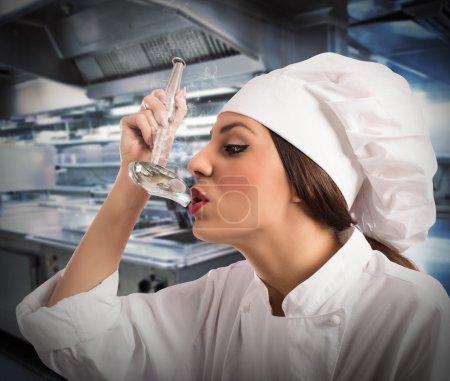 Chef tasting the dish