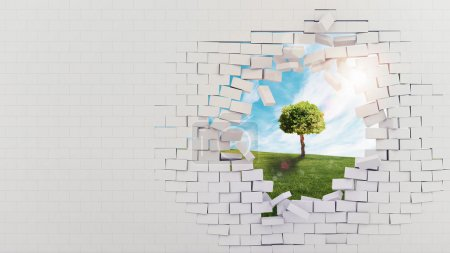 Photo for Broken brick wall overlooking a meadow with tree - Royalty Free Image