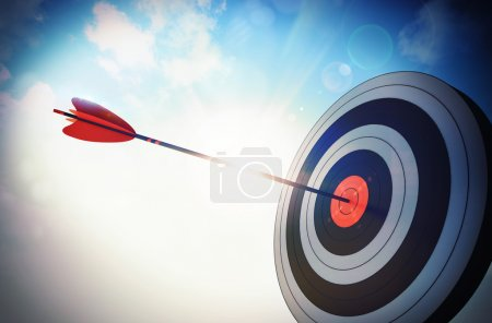 Photo for Target hit in the middle by arrow - Royalty Free Image