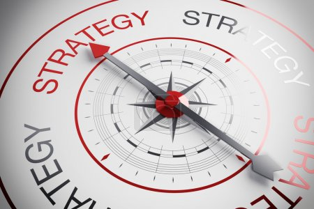 Compass pointing to the word strategy