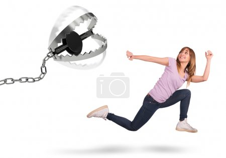 Girl chased by a trap