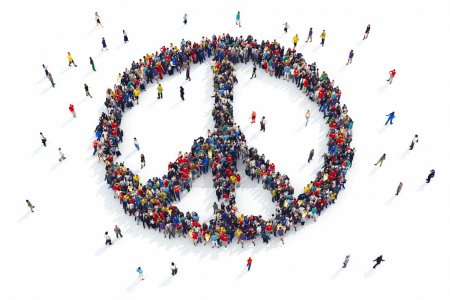 Photo pour Le rendu 3D des personnes forme un symbole de paix - image libre de droit