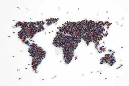 Photo pour Le rendu 3D des personnes forme les continents du monde - image libre de droit