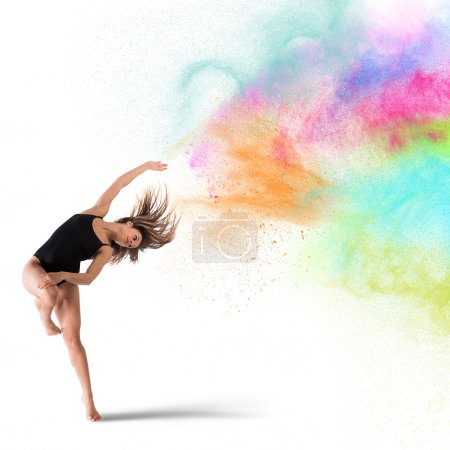 Photo for Agile woman dancer dancing with colored pigments - Royalty Free Image