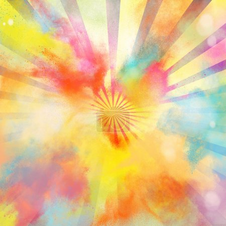 Photo for Background of pop-art burst bright colored powders - Royalty Free Image