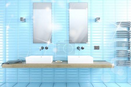 Photo pour Propre salle de bain brillante avec miroirs et lavabos rendu 3d - image libre de droit