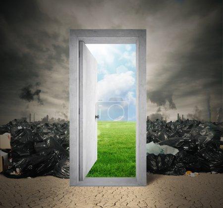 door on natural landscape