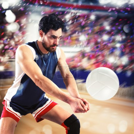 Photo for Volleyball man player hits the ball flexing - Royalty Free Image