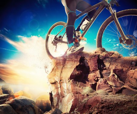 Man on a bicycle in a mountain