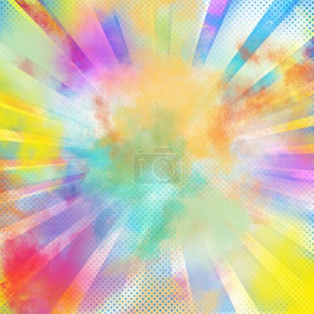 Photo pour Fond du Pop-art coloré éclater des poudres colorées lumineuses - image libre de droit