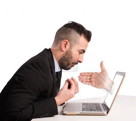 Diffident man on web