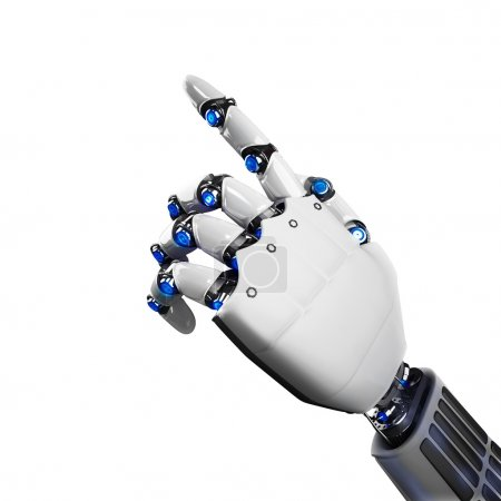Photo for 3D Rendering of futuristic robot hand indicating - Royalty Free Image
