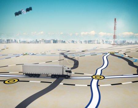 Photo pour Camion de rendu 3D sur la route avec chemin tracé par satellite - image libre de droit