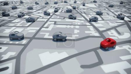 Photo pour 3D Rendu jouets voitures sur un chemin de la carte de rues - image libre de droit