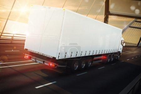 Foto de 3D Representación de camión blanco en un puente marítimo - Imagen libre de derechos