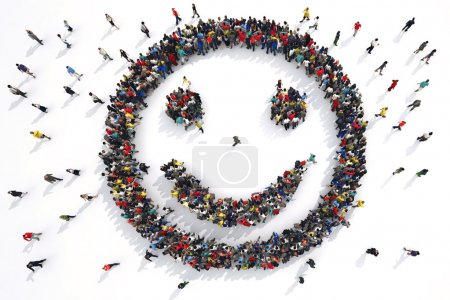 smiley face formed by group of people