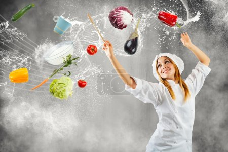 Photo for Girl cooking as a master of symphonic orchestra - Royalty Free Image