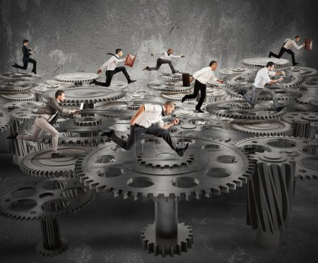 Photo for Business people running over a mechanism system - Royalty Free Image