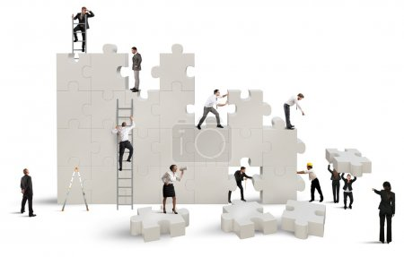 Photo for Concept of teamwork with business team building company on white background - Royalty Free Image