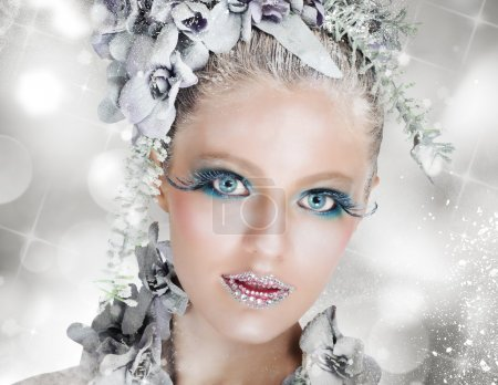 Woman with sparkling makeup