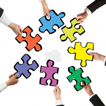Photo for Teamwork and integration concept people with pieces of puzzle - Royalty Free Image