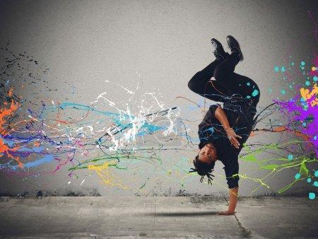 Brazilian man dancing capoeira