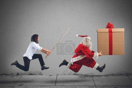 Dangerous man chasing Santa Claus