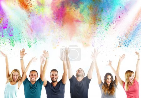 Photo for Boys and girls laughing together with colors - Royalty Free Image