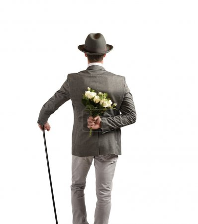 Gentleman with white roses