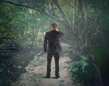 Man lost in the forest
