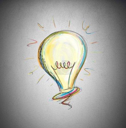 Foto de Concepto de idea en un dibujo de bombilla - Imagen libre de derechos