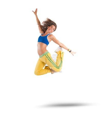 Woman dancer jumps