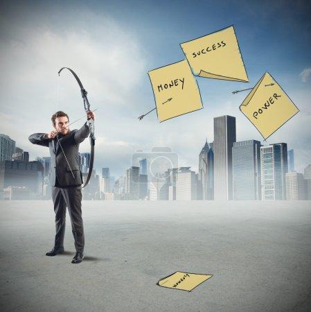businessman hits his work goals