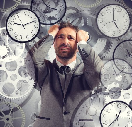 Photo for Businessman overloaded with job and have little time - Royalty Free Image