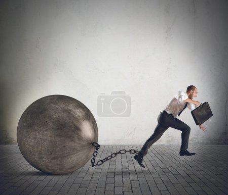 Businessman running to success