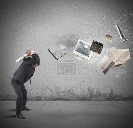 Businessman breaks computers