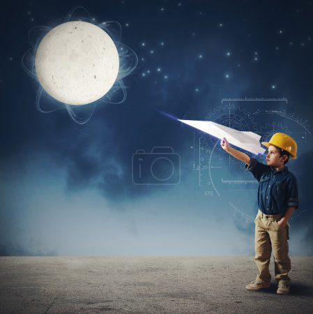 Child imagines launch a shuttle