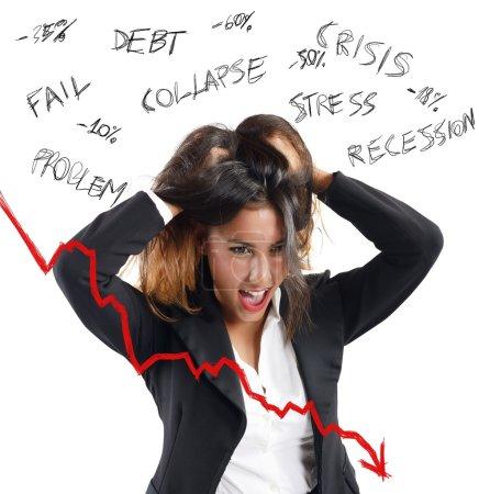 Businesswoman screaming of lower profits
