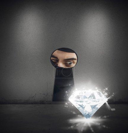 Thief steals a diamond