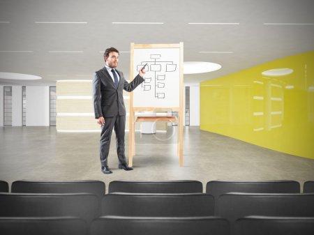 Un homme d'affaires prospère lors d'une réunion