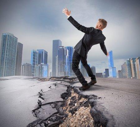 Businessman overcome a deep break