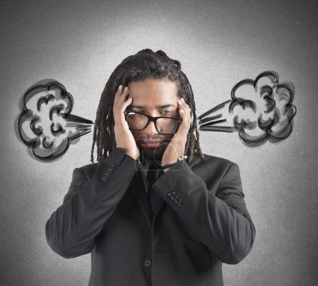 Businessman with brain in smoke
