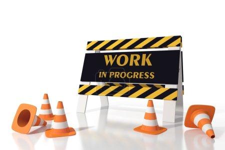 Photo pour Travaux en cours panneau dans un site routier - image libre de droit